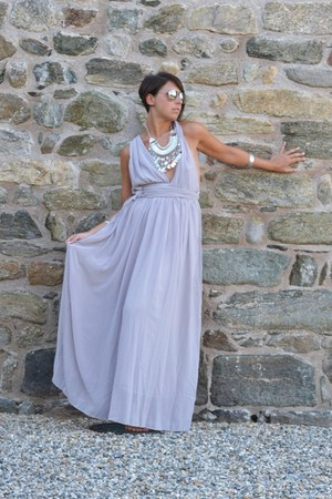 silver Happiness Boutique necklace - periwinkle Sheinside dress