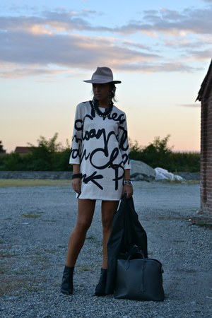 black Zara jacket - cream choices dress - black persun wedges