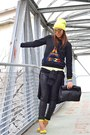Black-zara-bag-chartreuse-h-m-shoes-chartreuse-h-m-hat