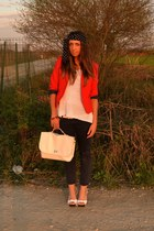 red blazer H&M blazer - ivory bag wholesale-dressnet bag - ivory clogs no brand