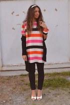 bubble gum dress H&M dress - ivory shoes no brand sandals - black pants Zara pan