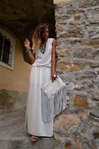 white Zara bag - ivory Zara skirt - white H&M t-shirt - silver H&M bracelet