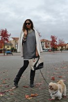 Zara boots - Zara dress - Zara coat - cigno bag romwe bag - H&M necklace