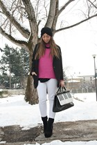 black asos boots - black Zara coat - black Topshop hat - hot pink Zara sweater