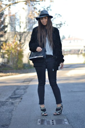 black Topshop coat - silver Zara shoes - black H&M jeans - heather gray H&M hat