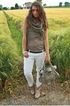 green Zara shirt - white Zara pants - beige asos boots - gray balenciaga purse -
