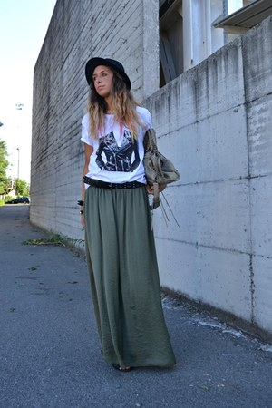 olive green Zara skirt - black H&amp;M hat - dark khaki balenciaga bag