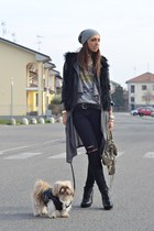 black faux-fur vest romwe vest - heather gray balenciaga bag