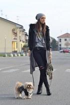 black faux-fur vest romwe vest - heather gray balenciaga bag