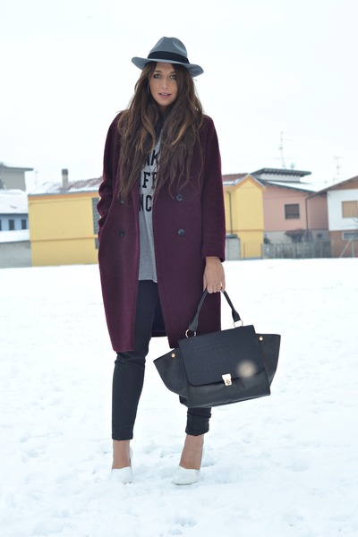 crimson H&M coat - heather gray H&M hat - charcoal gray Zara leggings