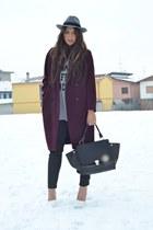 crimson H&M coat - heather gray H&M hat - charcoal gray Zara leggings