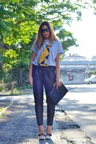 gold aimee diy necklace - black Zara bag - black OASAP sunglasses