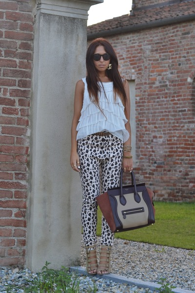 brown Celine bag - camel One Teaspoon pants - ivory Zara top