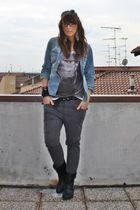 blue H&M hat - gray Zara t-shirt - black no brand belt - gray Zara pants - black