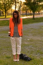 ivory shoes no brand shoes - orange blazer Zara blazer - black bag balenciaga ba