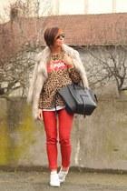beige River Island coat - black Celine bag - camel hm sweatshirt