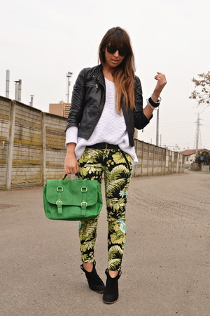 black Zara jacket - black Mango boots - ivory Zara sweater - green H&M bag