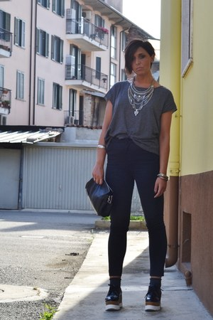 silver Bershka necklace - black Mango pants