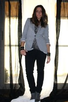 gray Zara blazer - gray Zara t-shirt - black H&M pants - gray Zara boots - black