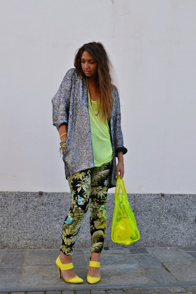 yellow pull&bear bag - yellow Zara top - chartreuse Zara pants