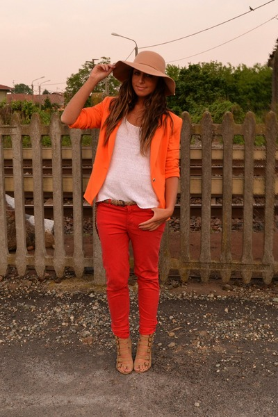 camel hat Bershka hat - orange blazer Zara blazer - carrot orange pants Zara pan