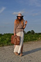 brown vintage bag - eggshell Topshop hat - camel H&M sweater