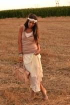 leather bag wwwannamodaborseit bag - maxi-lace-skirt wwwromwecom skirt - basic t