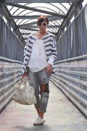 silver DIY jeans - ivory balenciaga bag