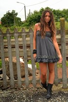 black leather boots vintage boots - silver dress dimensione danza dress - black