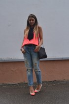 silver Zara jeans - orange H&M shoes - black Zara bag - orange H&M top