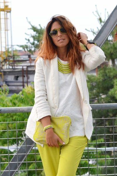lime green H&M bag - ivory Zara shoes - ivory H&M blazer