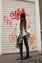 gray Bershka pants - white Zara coat - black Topshop hat - white H&M sweater