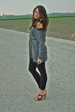 gray H&amp;M shirt - brown Zara leggings - brown H&amp;M belt - gold H&amp;M earrings - brow