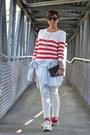 Red-mango-sweater-light-blue-h-m-shirt