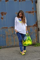 blue asos pants - white Zara sweater - yellow pull&bear bag - blue Zara necklace