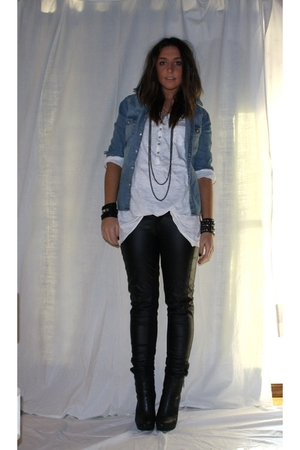 white H&M shirt - blue H&M shirt - black Zara pants - black boots boots - silver