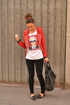 red studs jacket Queens Wardrobe jacket - black balenciaga bag - black H&M pants