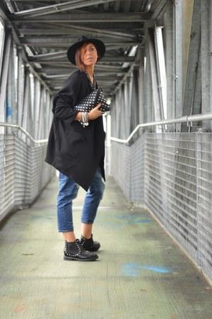 black Luca Stefani boots - black H&M coat - sky blue OASAP jeans