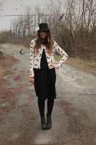 black hm man hat hat - black river island wedges wedges - black zara long skirt