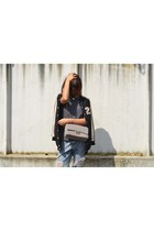 light blue OASAP jeans - black ISI-G jacket - heather gray made in italy bag