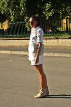 white Zara shirt - beige vintage purse - white H&M shorts - beige asos boots - b