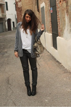 heather gray Topshop blazer - ivory H&M t-shirt - gray H&M pants - black H&M boo