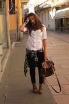 brown no brand scarf - white Zara shirt - black Zara pants - brown asos purse -