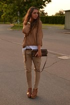 bronze Zara sweater - brown pyton clutch vintage bag - white basic top Zara top