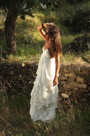 beige H&M dress - beige from Capo Verde bracelet - gold vintage earrings