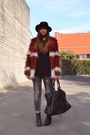Black-h-m-boots-brick-red-faux-fur-romwe-coat-charcoal-gray-zara-jeans