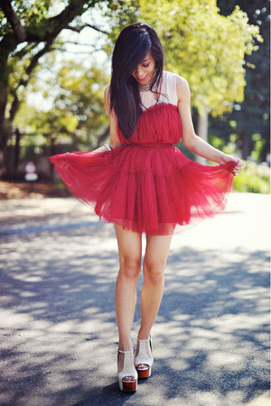 Jeffrey Campbell shoes - red tulle Chicwish dress