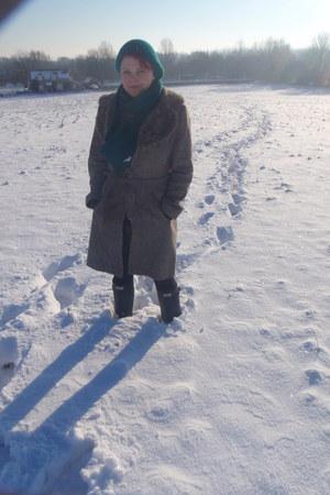 Hunter boots - Topshop coat - calvin klein scarf