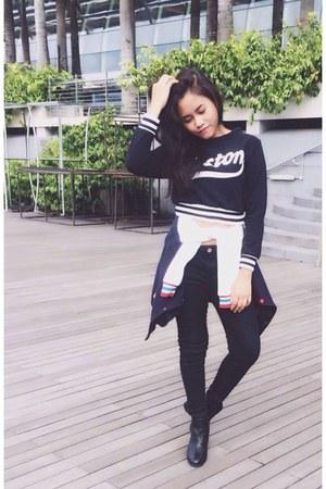 black H&M boots - black cotton on jeans - navy random sweater