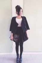 black H&M boots - white thrift dress - black new look tights
